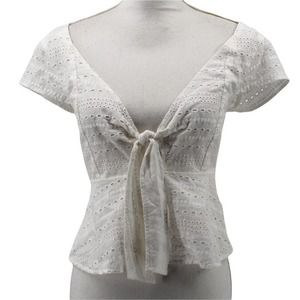 Minkpink Julep Eyelet Tie Front Top White Short Sleeve Cut Out IM19S1500 Small